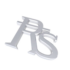 Silver Indian rupees sign isolated on white.