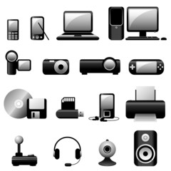 Vector Multimedia Icons - Black series