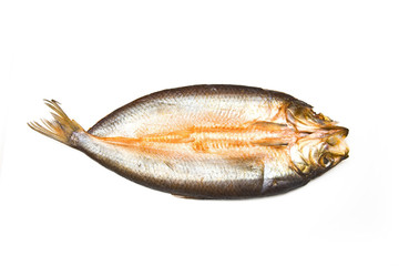 Traditional smoked kipper isolated on a white studio background.