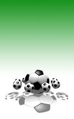 soccer balls in the air with green background