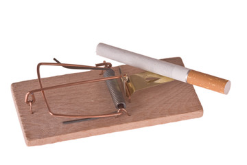 cigarette in mousetrap