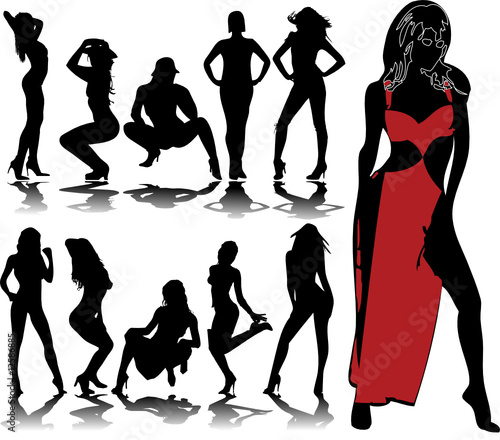 aae7bad96 Set of vector girls in red lingerie