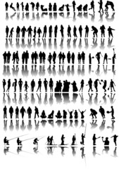 Silhouette of people in action vector illustration
