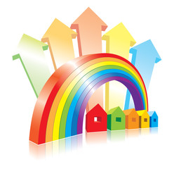 Vector illustration with 3D rainbow and small houses