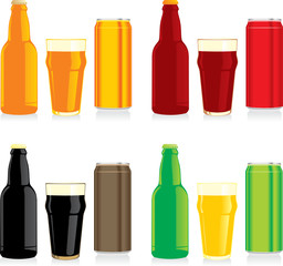 isolated different beer bottles, glasses and cans