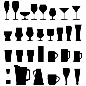Vector set of alcohol glasses and mugs