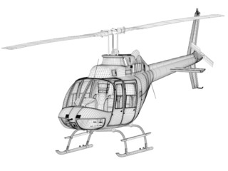helicopter 3d model, front view