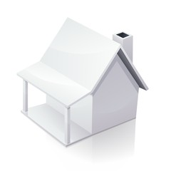 white home with a chimney and patio, on a white background