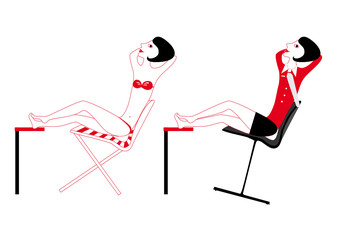 Nude girl in office, vector illustration, resting woman, red