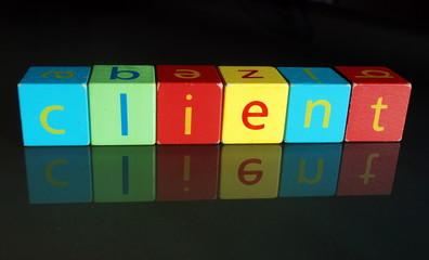 """""""Client"""" (cubes en bois avec reflet)"""
