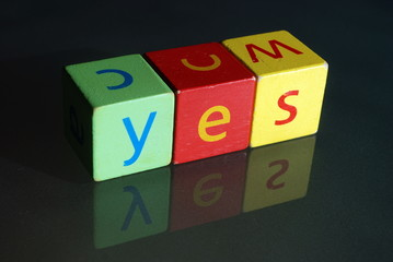 """Yes"" (wooden blocks)"