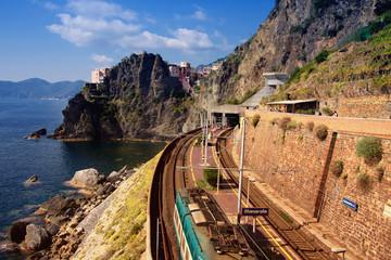train statition - manarola, liguria, italy