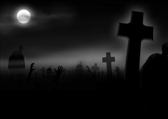 Friedhof mit Zombies