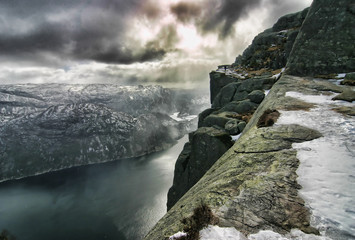 Pulpit Rock, view from the ascending path, Lysefjord, Norway