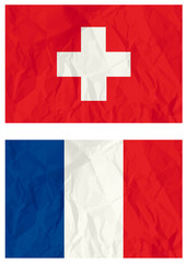 Switzerland and French flags