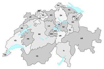 Schweiz - Karte der Kantone