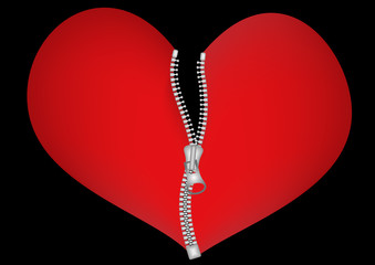 Red heart zipped with metal zip