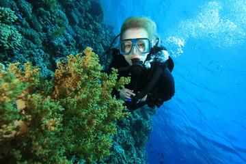 Scuba Diver in Coral Reef