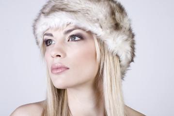 Pretty blonde in warm winter hat