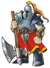 Spoed Foto op Canvas Ridders Knight with an axe, vector illustration