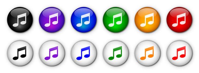 """Boutons """"♫  /  Musique """" (x12 - multicolores)"""