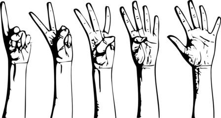 Vector set of gesturing hands