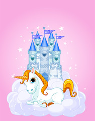 Spoed Foto op Canvas Pony Castle and Unicorn