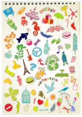 stickers collection on workbook background