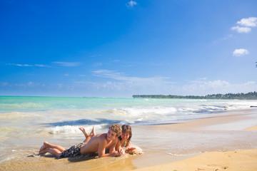 couple at the carribean beach