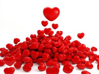 Many isolated red hearts