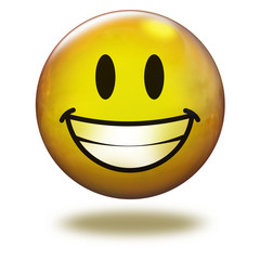 Emoticon 3D. Sonriente con dentadura