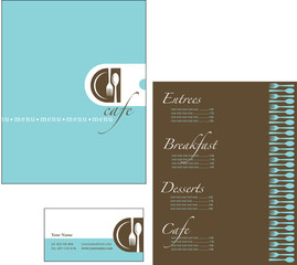 Template designs of menu and business card for restaurant