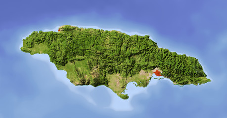 Jamaica, shaded relief map, colored for vegetation