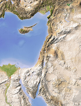 Palestine, shaded relief map, colored for vegetation