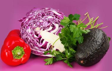 Cabbage, bell pepper & avocado