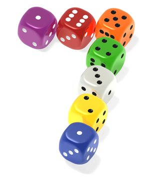 Lucky seven dice - vivid - isolated on white