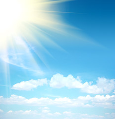 Cloudy sky and sun ray