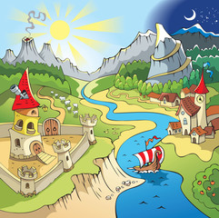 Spoed Fotobehang Kasteel Fairy tale landscape, wonder land, castle and town, cartoon
