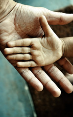 closeup of a child's hand on top of an adult's
