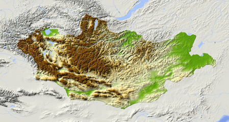 Mongolia, shaded relief map