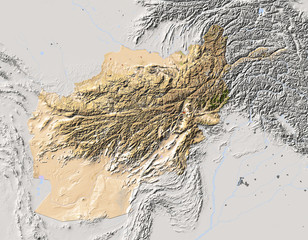 Afghanistan, shaded relief map, colored for vegetation