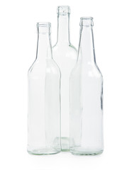 three transparent bottles
