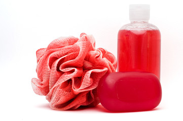 Bath rose, shower gel and soap bar