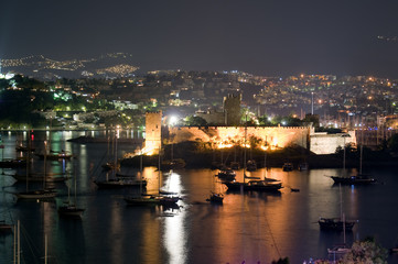 Bodrum Castle at night, Turkey.
