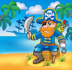 Poster Pirates Pirate sitting on chest with ship