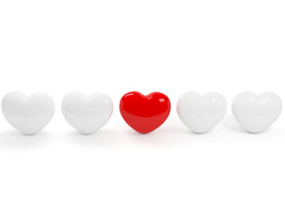 One isolated red heart and four white!