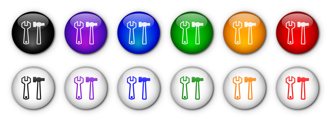 """""""Tools"""" Buttons (x12 - rainbow colours)"""