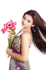 Brunette with tulips