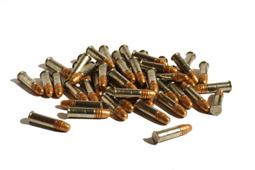 Group of 22lr bullets with shadows isolated on white