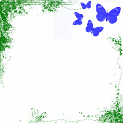 BLUE GREEN SPRING BACKGROUND WITH BUTTERFLIES